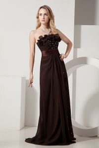 Brush Brown Prom / Evening Dress Beading Hand Made Flowers