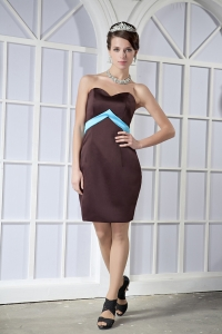Brown Satin Bow Prom Dress Column Sweetheart Mini-length