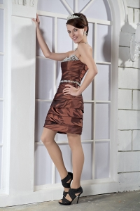 Sweetheart Mini-length Taffeta Beading Prom Dress Brown