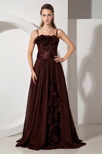 Brush Train Chiffon Beading Prom Dress Brown Strapless