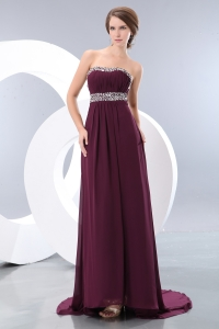 Strapless Burgundy Chiffon Beading Brush Prom/Evening Dress