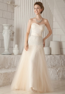 Prom / Pageant Dress Champagne Beading Tulle Satin