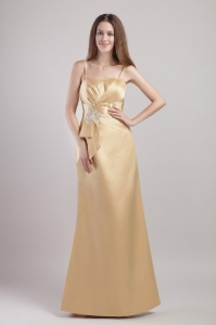 Spaghetti Straps Champagne Satin Appliques Prom Dress Sheath