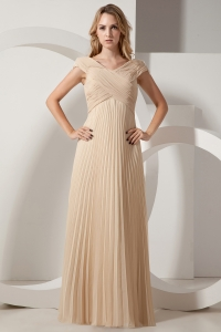 Pleated Long Champagne Prom Dress V-neck Chiffon
