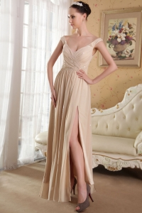 Sexy Sequins Prom Dress Champagne Off the Shoulder Chiffon