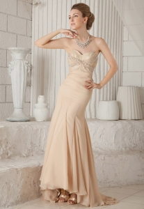 Champagne Trumpet Brush Chiffon Beading Prom Dress