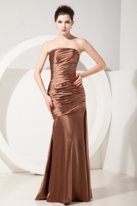 Chocolate Mermaid Strapless Taffeta Ruch Prom Evening Dresses