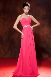 Sweetheart Chiffon Beading Prom Dress Coral Red Empire