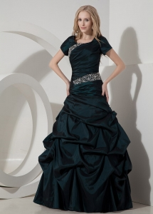 Dark Green A-line Scoop Short Sleeves Taffeta Beading Prom Dress