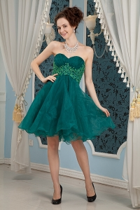 Dark Green Mini-length Prom Dress Organza Appliques