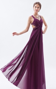 Dark Purple Empire Straps Chiffon Beading Prom Evening Dresses