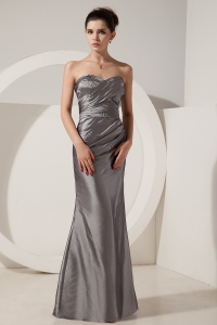 Silver Prom Dress Mermaid Strapless Floor-length Satin Beading