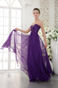 Beading Prom/Evening Dress Purple Sweetheart Chiffon