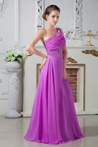 Ruch Beading Fuchsia Prom Dress Column One Shoulder