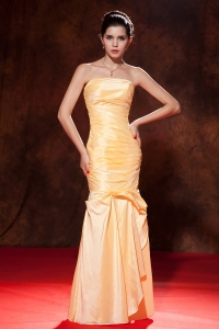 Mermaid Strapless Taffeta Ruch Gold Prom / Evening Dress