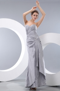 Gray Sweetheart Taffeta Ruch Beading Prom/Homecoming Dress