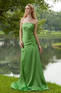 Green A-line Strapless Brush Train Taffeta Ruch Prom Dress