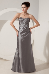 Grey Beading Prom Dress Column Sweetheart Floor-length Satin