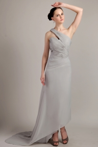 High-low Grey Prom Dress One Shoulder Brush Chiffon Ruch