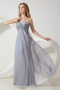 Chiffon Beading Prom / Evening Dress Grey Sweetheart