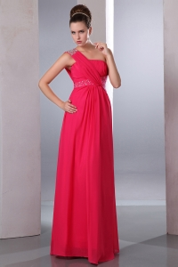 Chiffon Beading Hot Pink Prom Dress One Shoulder Pleates