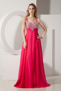 Coral Red Spaghetti Straps Beading Prom/Evening Dress Brush