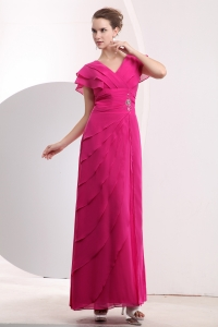 Hot Pink Beading Prom/Evening Dress Chiffon Empire V-neck