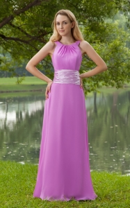 Lavender Prom Dress Empire Scoop Brush Train Chiffon Ruch