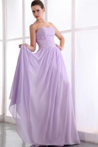 Popular Lilac Chiffon Beading Prom Dress Strapless