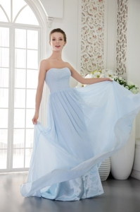Brush Chiffon Beading Prom / Graduation Dress Light Blue