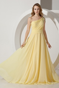 Light Yellow One Shoulder Brush Train Chiffon Beading Prom Dress