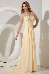 Light Yellow Beading Prom Dress Scoop Brush Chiffon