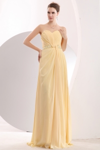 Chiffon Beading Brush Prom/Evening Dress Light Yellow Empire