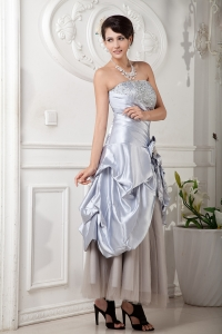 Lilac Strapless Ankle-length Satin and Tulle Beading Prom Dress
