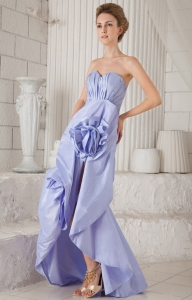 Mermaid Asymmetrical Lilac Prom Dress Ruch Hand Made Flowers