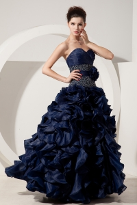 Princess Organza Beading Prom Dress Navy Blue Pick-ups