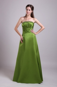 Long Satin Beading Prom Dress Olive Green A-Line Strapless