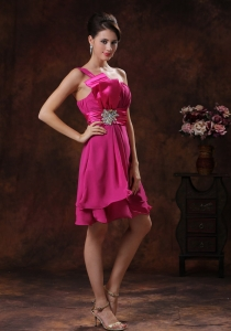 Short Prom Dress Fushsia In 2013 One Shoulder Beading