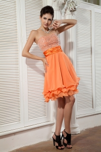 Orange Mini-length Chiffon Beading Prom / Homecoming Dress