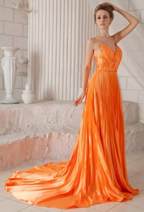 Court Train Orange Red Pleat Prom Dress Spaghetti Straps
