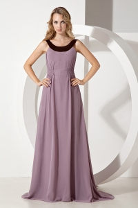 Scoop Brush Train Chiffon Prom Dress Purple Empire
