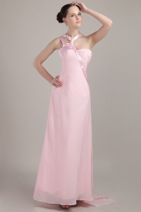 Pink Chiffon New Style Prom Dress Empire V-neck Ankle-length