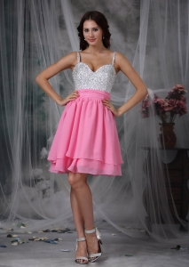 Mini-length Chiffon Beaded Prom Dress Pink and White Straps