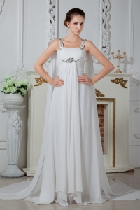 Popular Straps Wedding Dress Watteau Chiffon Beading