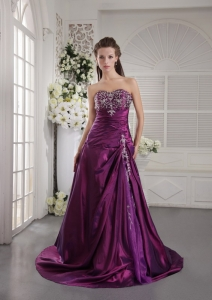 Taffeta Embroidery Ruch Prom/Graduation Dress Purple Brush