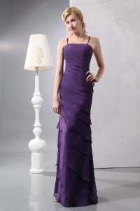 Ruffled Layers Purple Prom Dress Column Straps Chiffon