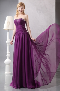 Purple Prom Dress Empire Strapless Brush Train Chiffon Beading