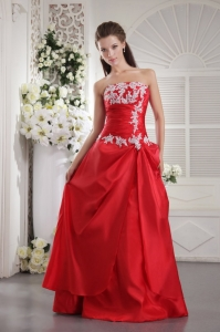Taffeta Appliques Red Prom/Evening Dress A-line Strapless