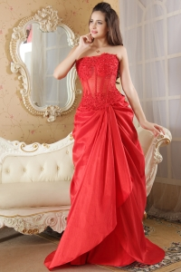 Red Taffeta Lace Prom Dress A-line Strapless Brush Train