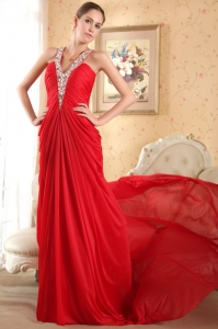 Halter Red Chiffon Beading Ruch Prom Dress Chapel Train